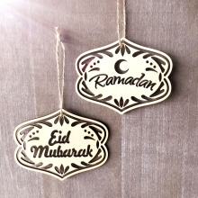 Ramadan Wooden 50pcs/set Eid Mubarak Muslim Home Decoration Pendant Laser Cut  For Moon Islam Mosque