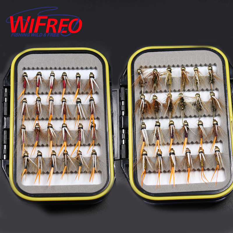 Wifreo Fly Combo 48PCS 10# Brass Golden Beadhead Trout Grayling Fishing Flies Wet Fly Bead Head Prince Nymph wifreo 84pcs assorted nymph flies combo set trout fishing fly with ultra thin fly fishing pocket box size 14