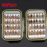 Wifreo Fly Combo 48PCS 10 Brass Golden Beadhead Trout Grayling Fishing Flies Wet Fly Bead Head