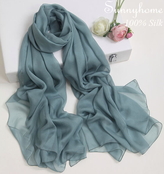 bohemian cape scarf Luxury women Silk scarves and wraps in 2016 Dark green long shawl for fashion ladies 100% pure silk scarf