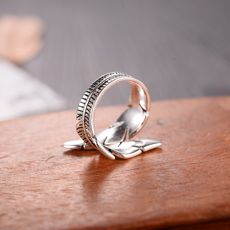 2021 Bijoux Fashion Real Silver Color Feather Rings for Women Boho Adjustable Antique Rings Anillos 5