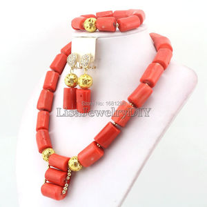 Image 5 - Amazing!2019 Coral Wedding Jewelry Set African Costume Jewelry Coral Beads Jewelry Sets Necklace Bracelet Clip Earrings HD0404
