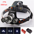 Led Head Light 3 *Cree Xml T6 Head Lamp Linterna Lampe Frontal Torch Light Rechargeable Headlamp With 18650 Batteries Hoofdlamp