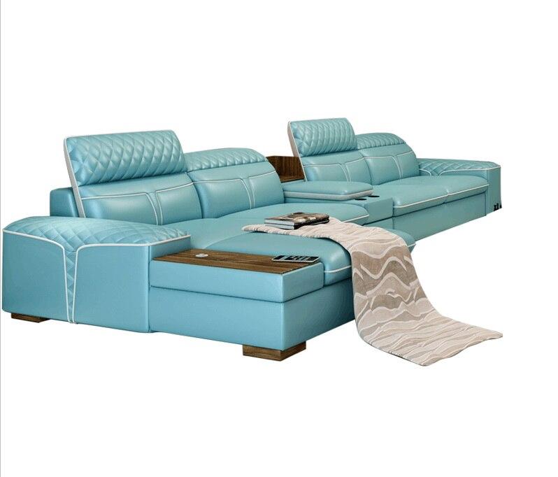 Living Room Sofa storage corner real genuine leather sofas salon couch puff asiento muebles de sala canape L shape sofa cama