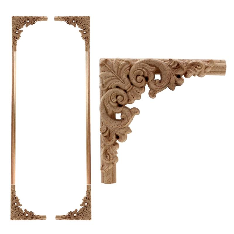 VZLX sculpture sur bois sculpté en bois Applique européenne meubles armoire porte fleur Vintage décor à la Maison décoration Maison en gros