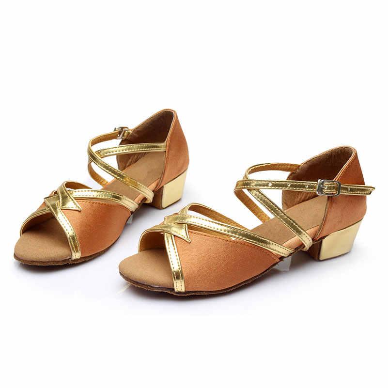 e48f7600 Новые детские туфли на низком каблуке для девочек, атласные блестящие туфли  для латинских танцев,