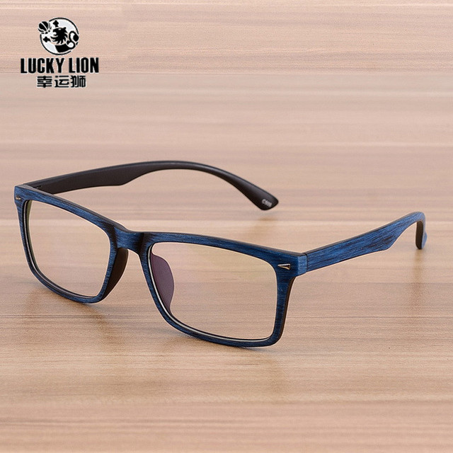Square Eyeglasses Frames Clear Lens Optical Frame Wooden Imitation Prescription Glasses Frame Spectacle Eyewear Frames Women Men