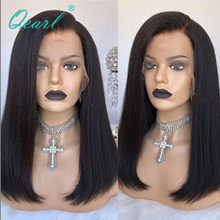 Short Bob Lace Front Wig Human Hair Kinky Straight Side Part for Women 13x4/13x6 Malaysian Remy Hair 130% 150% Density Qearl(China)