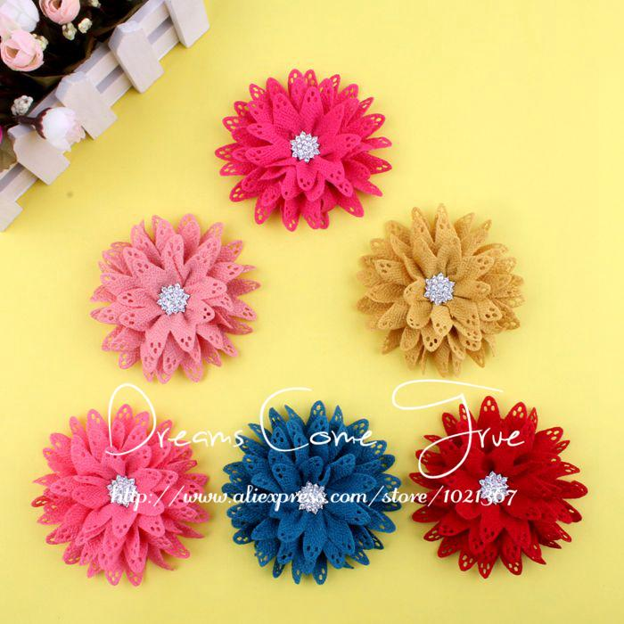 20pcs/lot 3.5 6Colors Excellent Quality Artificial Fabric Hair Flower Accessories + Bling Rhinestone Button For Gilr Headwear