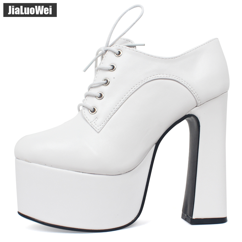 Women/'s Chunky High Heel Peep Toe Sandals Nightclub Buckle Lace Up Creeper Shoes