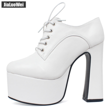 jialuowei Brand Womens Chunky Block Heel Platform Shoes Pointed Toe Lace-up Vintage 15CM Super High Thick Size 36-46