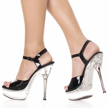 14cm womens sexy Crystal sandals Black 5 1/2 Inch Metal diamante glitter crown heel with ankle strap high heel shoes Sizes- 5-12