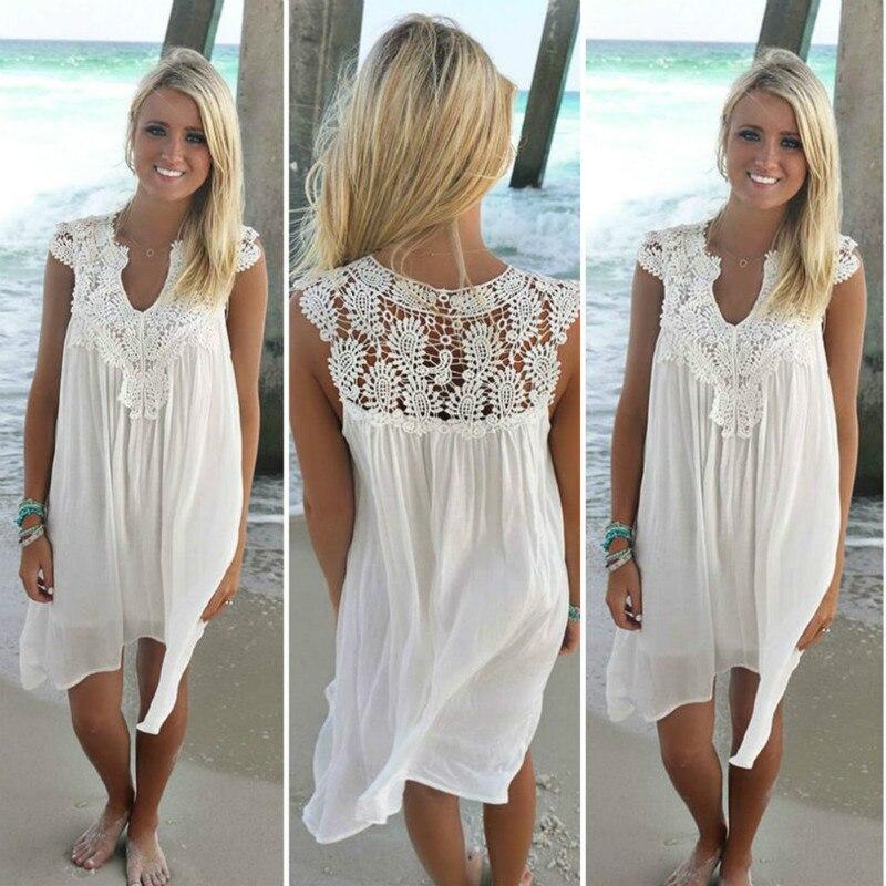 2018 Sexy gasa mujeres vestido verano casual sin mangas suelta vestido de señora Hollow Out blanco encaje túnica Vestido de playa más tamaño