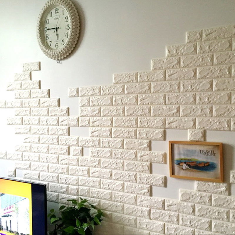 aliexpresscom buy 70x77cm pe foam 3d wall stickers safty home decor wallpaper diy wall decor brick living room kids bedroom decorative sticker from - Wallpaper House Decor