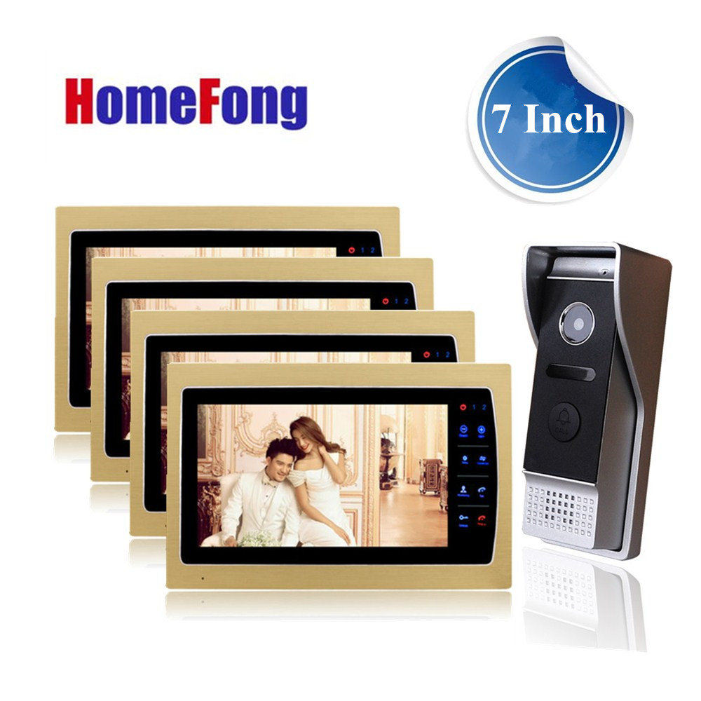 Homefong 7 inch Color Video Door Phone Doorbell Intercom Wired 4 Wire 4 indoor Monitor and 1 Outdoor station 1200TVL HD door intercom video cam doorbell door bell with 4 inch tft color monitor 1200tvl camera