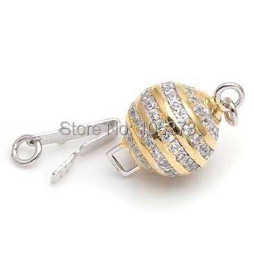 Avec fermoir boule en zirconium, 10mm 925 argent bricolage collier en cristal de perle naturelle de haute qualité, fermoir bracelet. -L59B - 4