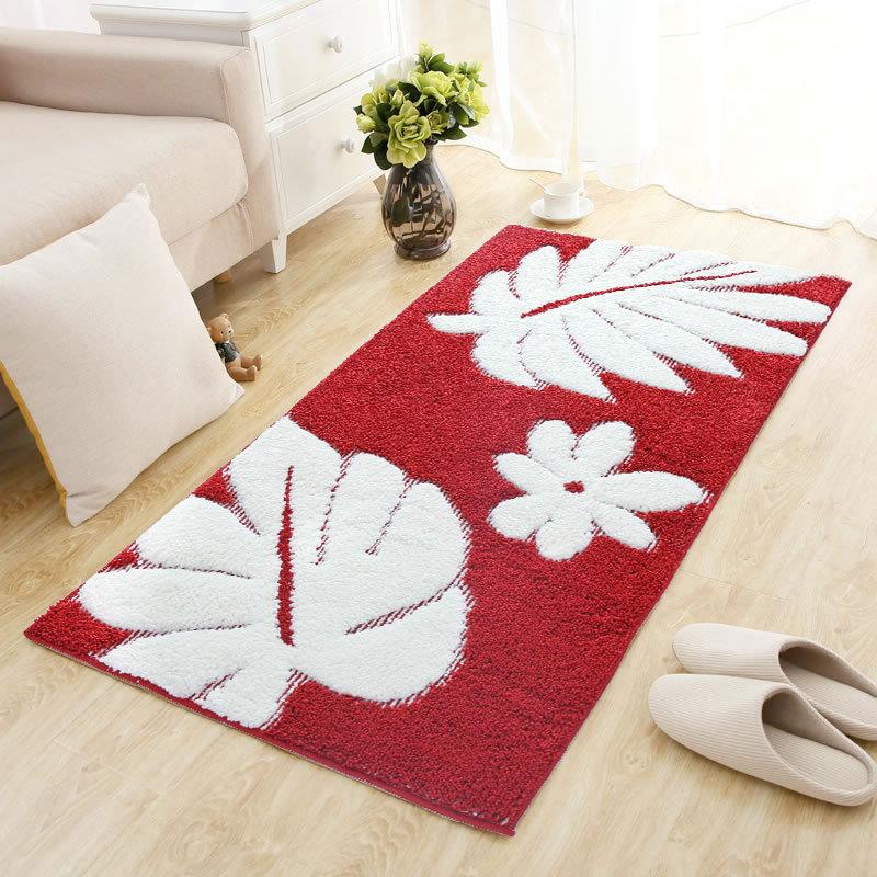 Rouge doux peluche Shag canapé chambre tapis fleurs motif salon tapis paillassons tapis de sol 60x90 CM/70x140 CM