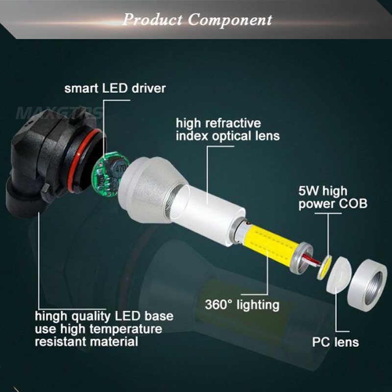2x H7 H8 H11 9005 9006 HB3 HB4 H16 H10 PSX24W COB Chips Car LED Light Fog Lamp LED Daytime Runing Light DRL Gold Ice Blue