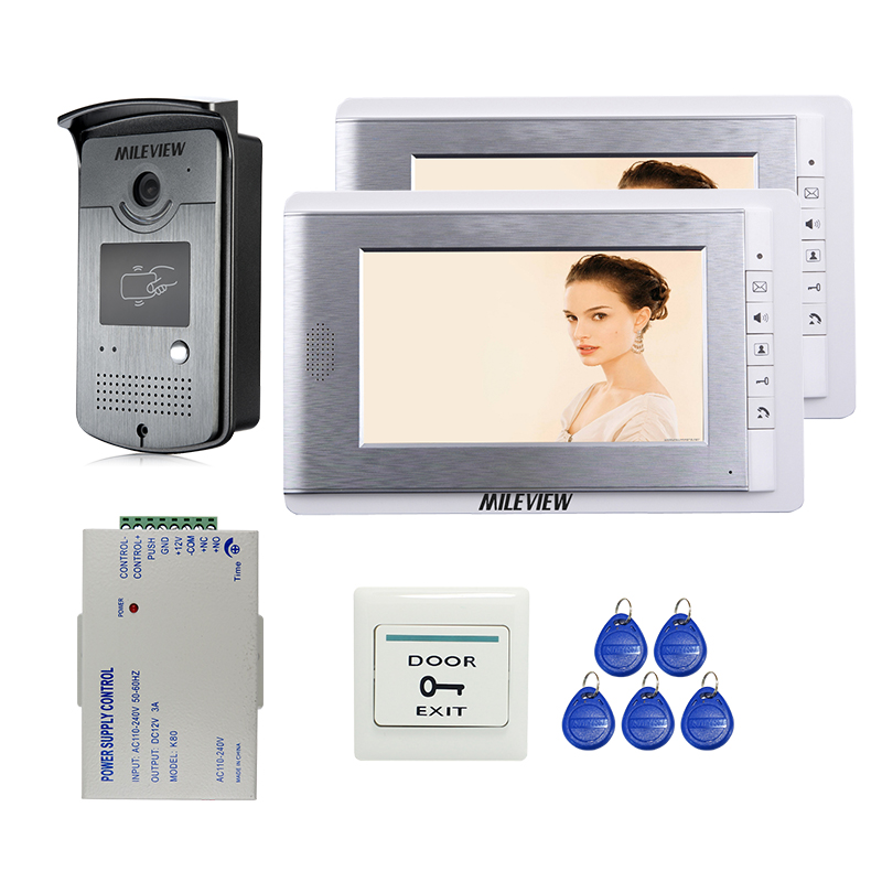Brand New 7 Color Video Door Phone Intercom System 2 Screen + RFID Card Access Camera + Power Supply Controller FREE SHIPPING 125khz rfid card access control video door phone system wired 7 inch color screen video door bell with rfid card reader