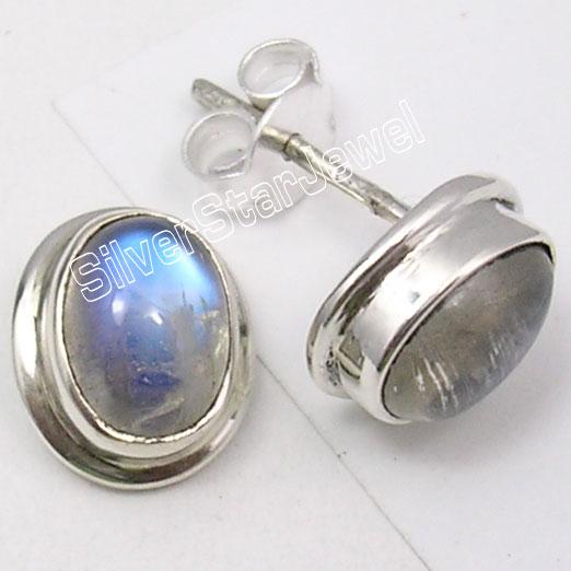 Silver RAINBOW MOONSTONE Stylish sEarrings1.2CM1 Pair of Earring