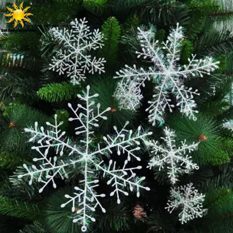 30pcs white snowflake christmas ornaments holiday festival party home decor decoracion navidad new year gift in artificial snow snowflakes from home