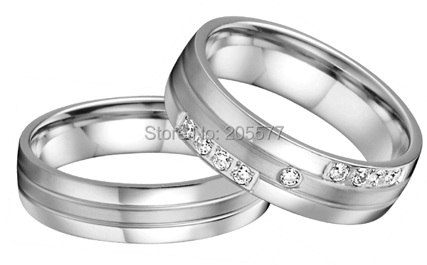 custom size  handmade  western European style silver color his and hers cz wedding bands ring sets