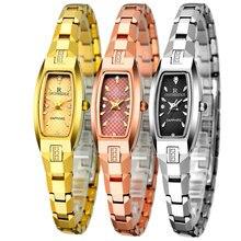 Marca de lujo de las mujeres relojes 200 M impermeable reloj de cuarzo de acero de Tungsteno de oro rosa relojes de oro y plata pulsera de las mujeres mejor regalo