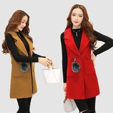 new Spring Women High Quality Fashion Wool Vest Ladies Long Waistcoat  Sleeveless Jacket