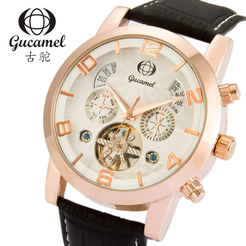 цена на Wholesale Male Tourbillon Skeleton Auto Mechanical Watch Luxury Charm Leather Men Sporty Simple Party Sporty Watches
