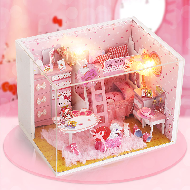 DIY Doll House Miniature Kitty Cat Princess Room With Furnitures LED Dust Cover 3D Wooden Creative Dollhouse Gift Toy Q003 #E