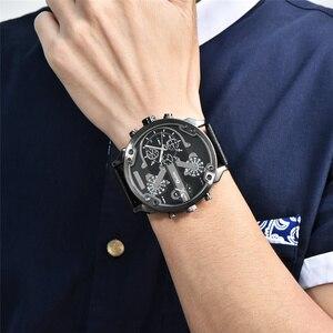 Image 4 - Oulm Merk Super Grote mannen Wijzerplaat Horloges Dual Time Zone Horloge Casual PU Leer Luxe Merk Mannen Quartz Horloge