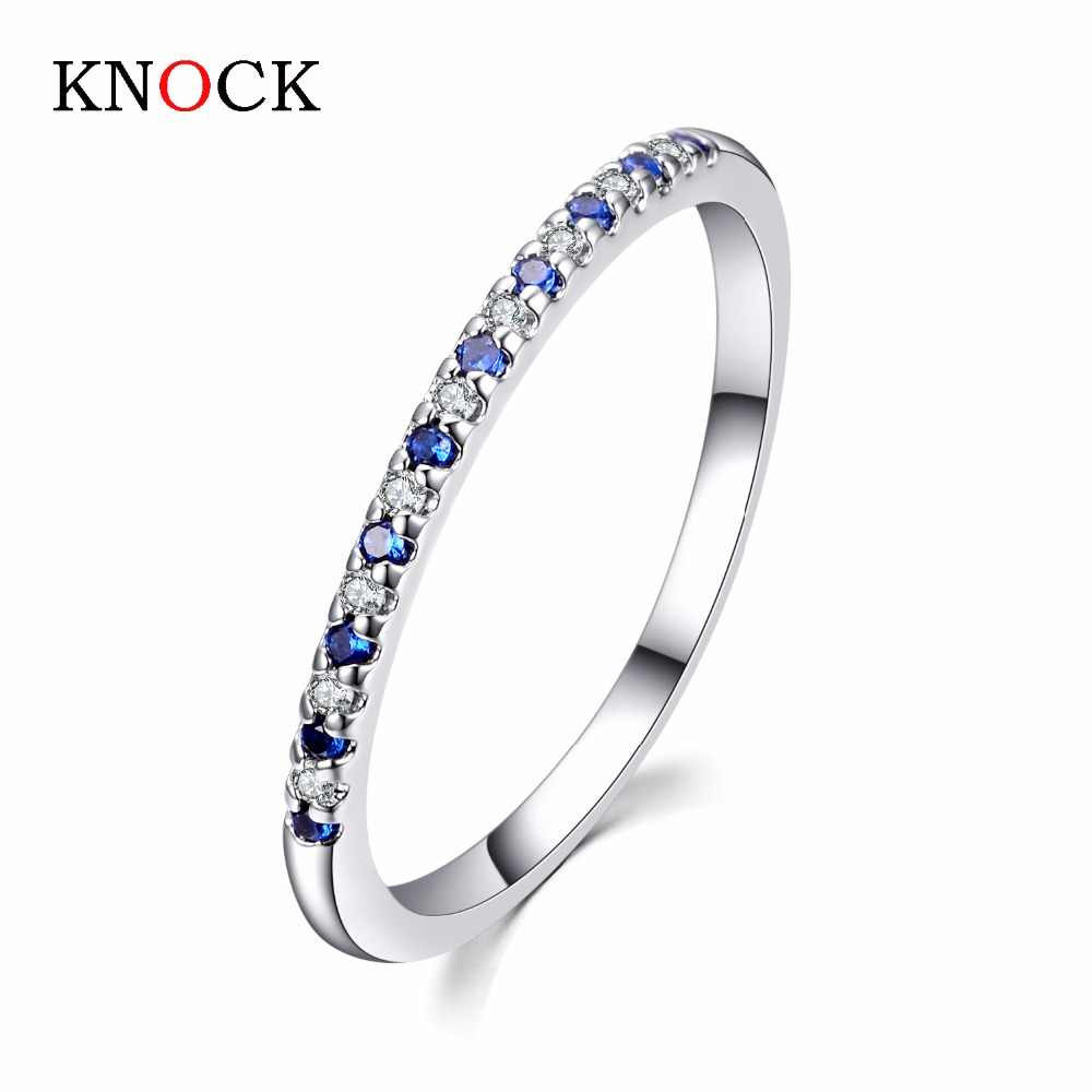 KNOCK Wedding Ring For Women Man Concise Classical Multicolor Mini Cubic multicolor Zirconia white Gold Color Fashion Jewelry