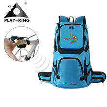PLAYKING 30L Bicycle Riding Reflective LED Turn Light Backpack Helmet Cycling Backpack Night Reflective Cycling Rucksack