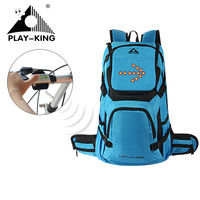 PLAYKING 30L Bicycle Riding Reflective LED Turn Light Backpack Helmet Cycling Backpack Night Reflective Cycling Rucksack Bag