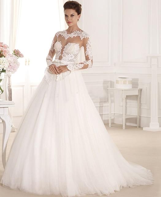 Graceful Sheer Illusion Neckline Applique Lace Ball Gown Wedding Dress 2015  Backless long Sleeve Bridal Gowns Vestido De Novia 817736b89802