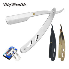 Dighealth Barbeador Manual recto Barber borde de acero afeitar barba cara removedor de pelo cuchillo de afeitar plegable con 10 cuchillas de pc(China)