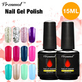 Vrenmol 15ml Pure Color Gel Polish Soak Off UV/LED Nail Polish Long Lasting Top Coat +base Coat Shiny Gitter Nail Art