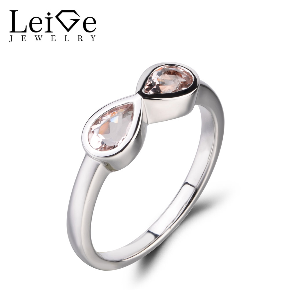 Leige Jewelry Real Natural Pink Morganite Ring Cocktail Party Ring Pear Cut Double Stones Ring Genuine Solid 925 Sterling Silver цена