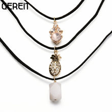 3 pcs/set Bohemian Sexy Black Velvet Layered Necklace For Women Indian Charm Crystal Stone Pineapple Beaded Pendants Necklaces(China)