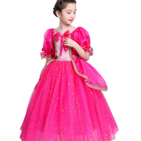 2018 Summer Princess Sleep Beauty Dress Girl Baby Aurora Long Dress Kids Cosplay Dress Up Halloween
