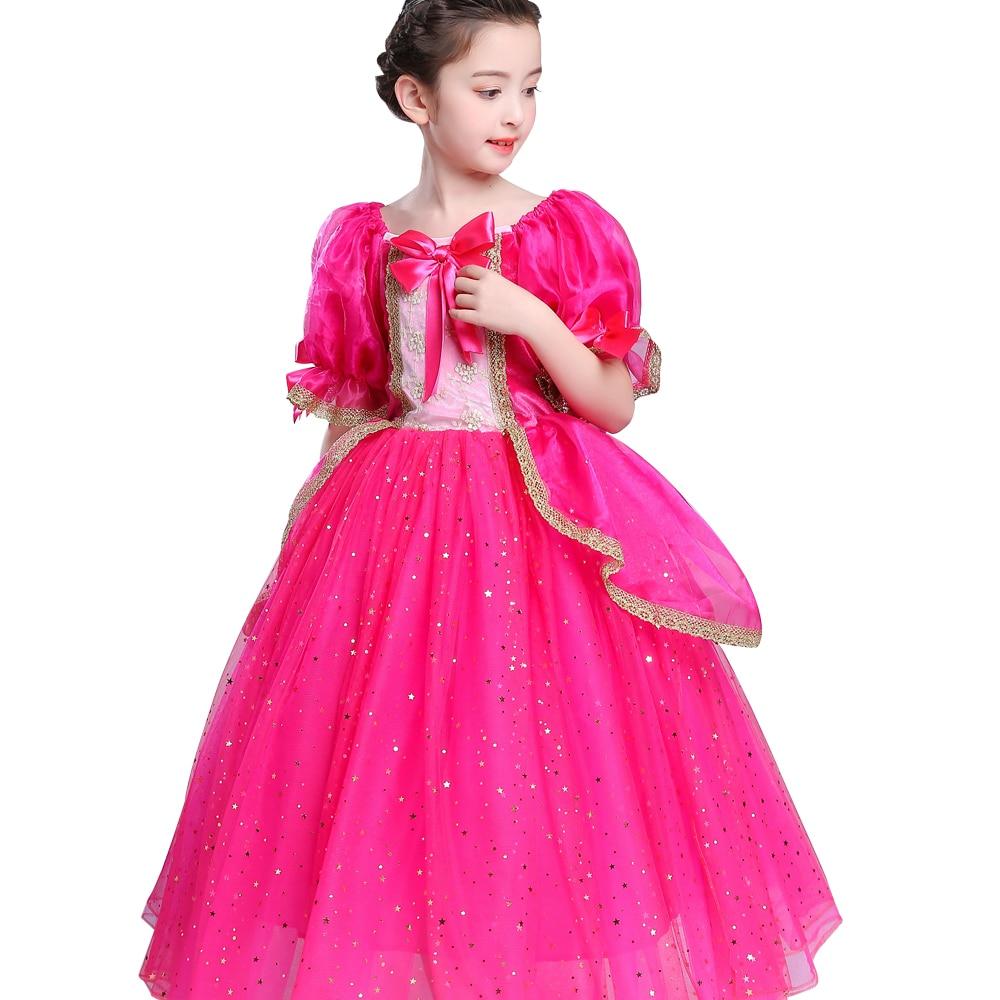 2018 summer Princess Sleep beauty dress Girl baby Aurora long dress Kids Cosplay Dress Up Halloween Costumes ball gown dresses аксессуары для косплея random beauty cosplay