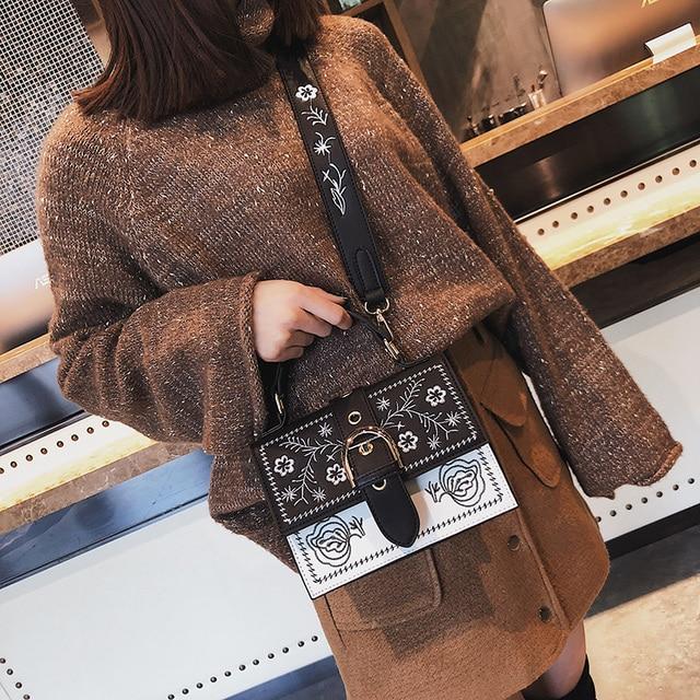 Toposhine Fashion Women Bag Panelled Vintage Flower Girls Bags for Girls Black PU Leather Women Messenger Bags Drop Shipping 2