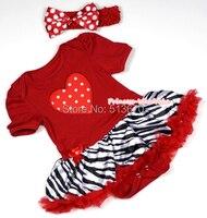 Valentine bébé Hot rouge blanc Dots coeur combinaison fille robe rouge jupe de zèbre NB-12Month MAJSA0339