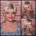 1PC Natural highlights short blonde wig synthetic afro hair, puffy straight short wigs for black women free ship