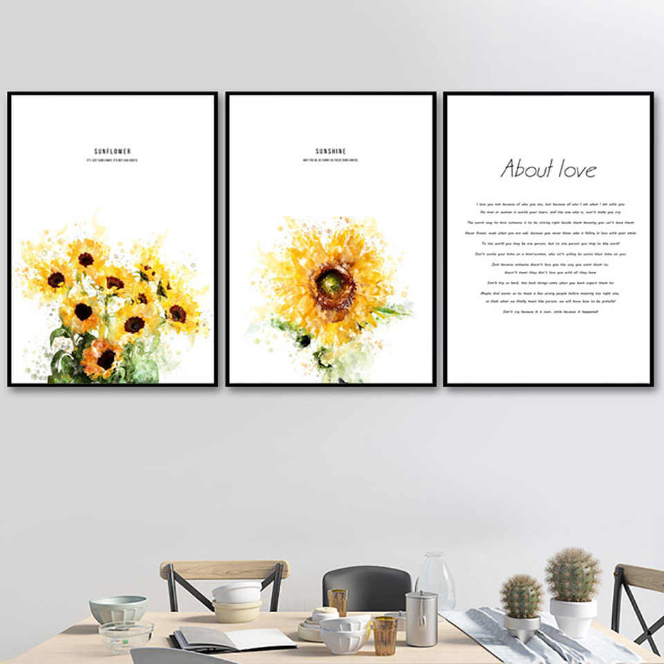Canvas Painting Nordic Style Prints Home Decoration Sunflower Pictures Letters Wall Art Modular Watercolor Poster For Kids Room