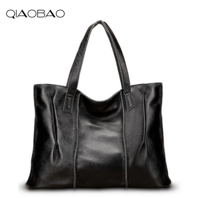 QIAOBAO 100% Genuine Leather Bag Large Women Leather Handbags Famous Brand Women Messenger Bags Big Ladies Shoulder Bag Bolsos