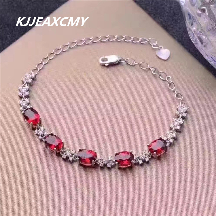 KJJEAXCMY colorful jewelry, natural garnet female bracelet, S925 sterling silver, inlaid precious stones, silver jewelry wholesa zx 1029 woman s fashionable retro colorful rhinestone inlaid bracelet multicolored