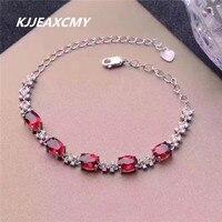 KJJEAXCMY colorful jewelry, natural garnet female bracelet, S925 sterling silver, inlaid precious stones, silver jewelry wholesa