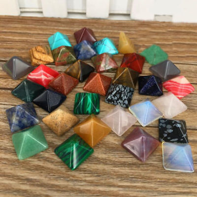 7 Pcs/lot Multi-colorChakra Pyramid Stone Set Crystal Healing Chakra Set Or Jewelry Making Random Color