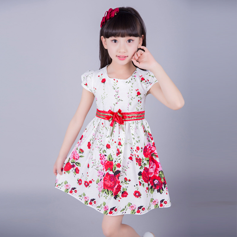 Kids dresses for girls clothing 2016 summer style floral print girl princess party dress baby kids clothes casual sundress 2-10Y цены онлайн